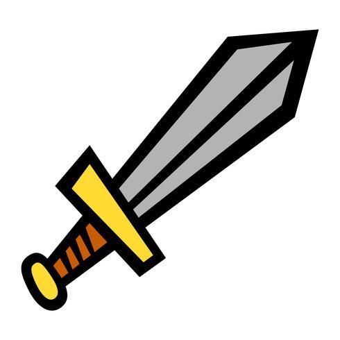 Metall-Schwert-Vektor-Cartoon-Symbol vektor