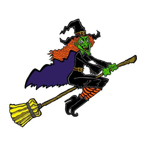 Hexe, die einen Besenkarikaturvektor reitet vektor