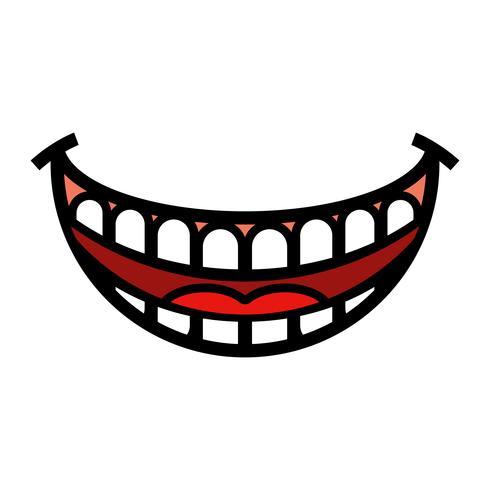 Big Happy Toothy Cartoon Leende vektorikon vektor