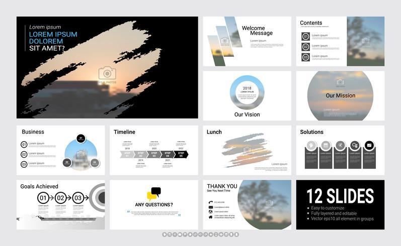 Presentation glidmall för ditt företag med infografiska element. vektor