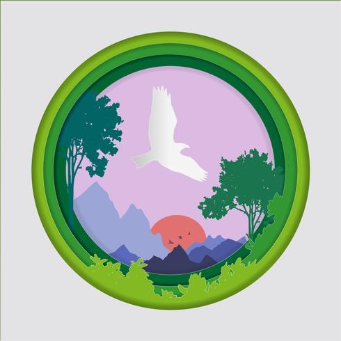 Papierkunst schnitzen vom Vogel auf Himmel im Waldhintergrund, in der Origamikonzeptnatur und in der Tieridee. vektor