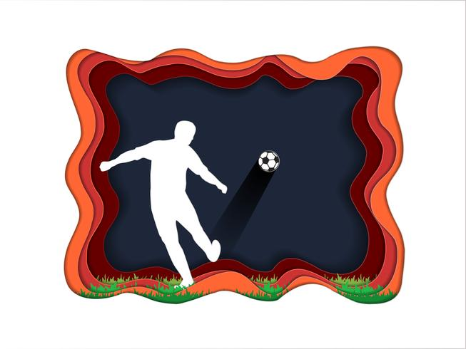 Papperskonst av fotbollsspelare med fotbollsspelare. vektor
