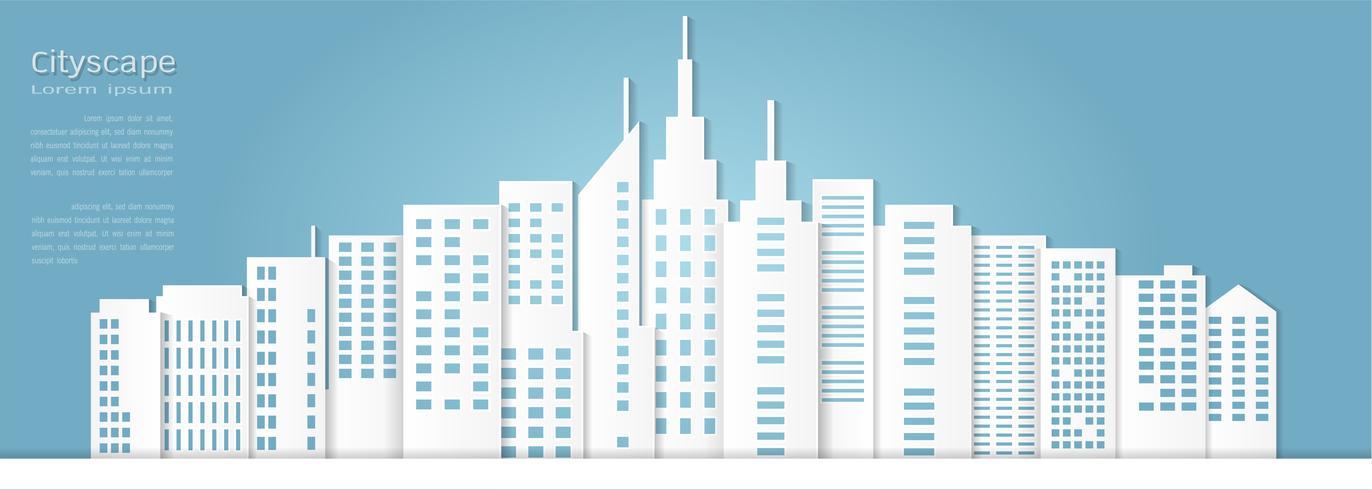Papierkunstart für Architekturgebäude und Stadtbildhintergrund. vektor