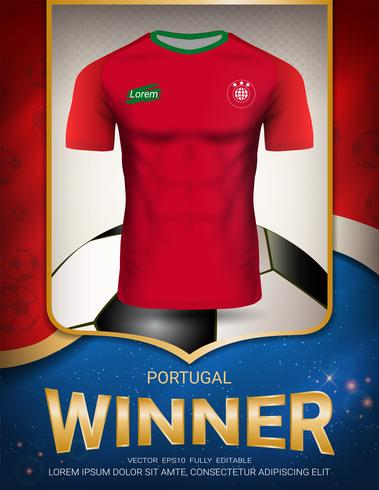 Fotbollskup 2018, Portugal vinnare koncept. vektor
