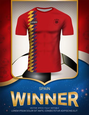 Fußballcup 2018, Spanien-Siegerkonzept. vektor