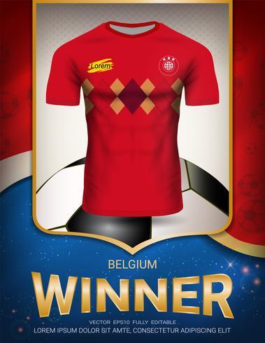 Fußballpokal 2018, Belgien-Siegerkonzept. vektor