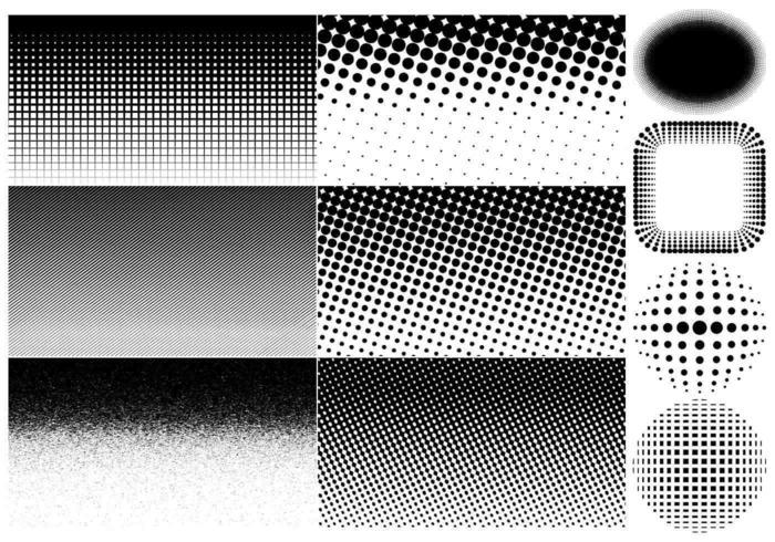 Halbtonvektoren und Hintergrundpackung vektor