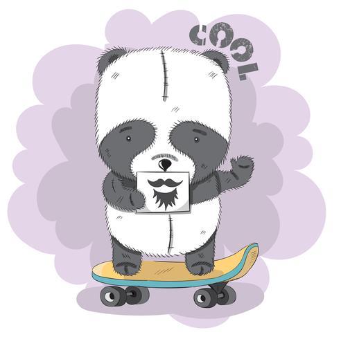 Söt liten Panda på en skateboard vektor