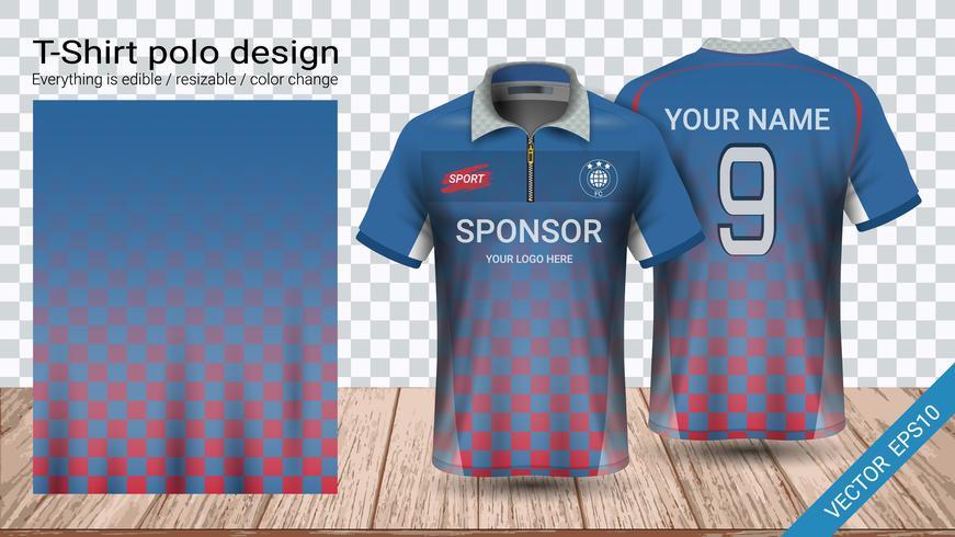 Polo t-shirt design med dragkedja, Fotbollsjack sport mockup mall för fotbolls kit eller aktiva uniform. vektor