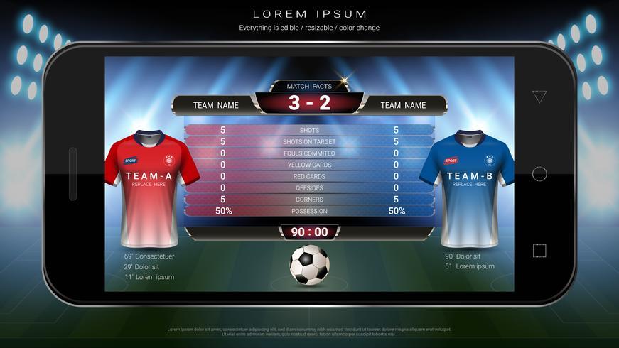 Fotbollsfotbolls mobil live, resultattavla lag A vs lag B och global statistiksändning grafisk fotbollsmall. vektor