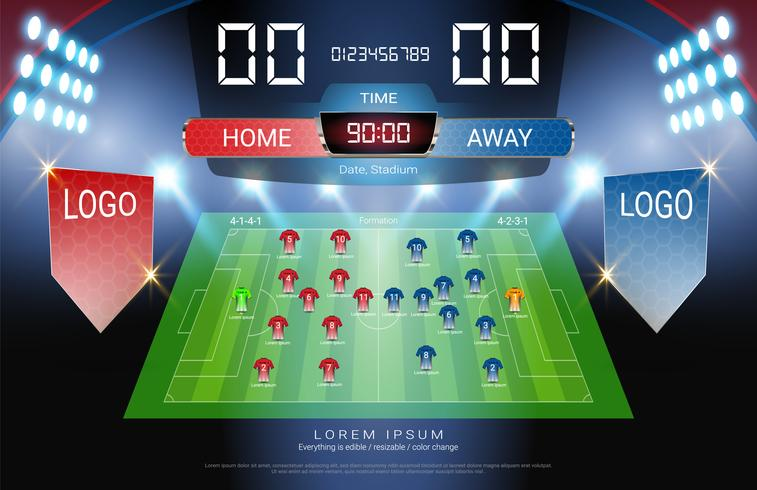 Fotboll eller fotbolls startlinje, Jersey uniformer och Digital timing resultattavla match mot strategi broadcast-mall. vektor