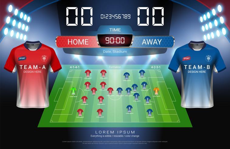 Fußball- oder Fußballstartaufstellung, Jersey-Uniformen und Digital-Timing-Anzeigetafel passen gegen grafische Schablone der Strategiesendung zusammen. vektor
