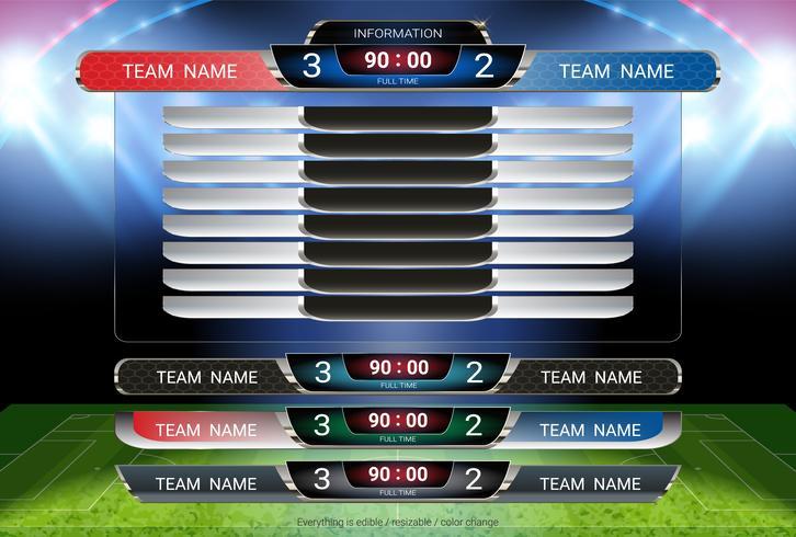 Scoreboard och Lower Thirds mall, Sport fotboll och fotbollsmatch lag A vs lag B. vektor