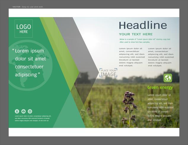 Presentation layout design för mall för grön omslagssida. vektor