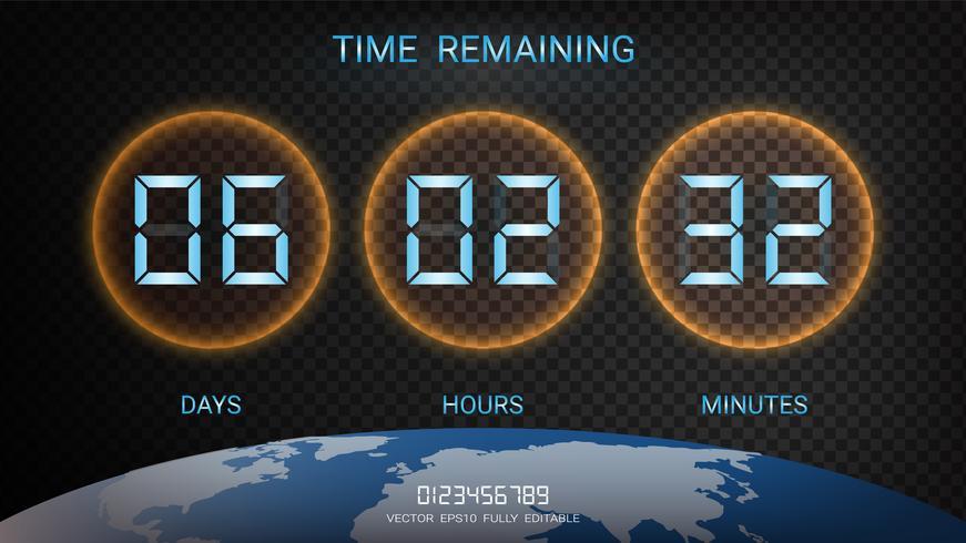 Återstående nedtællningstimer eller Klockräknad resultattavla med dagar, timmar och minuter. vektor