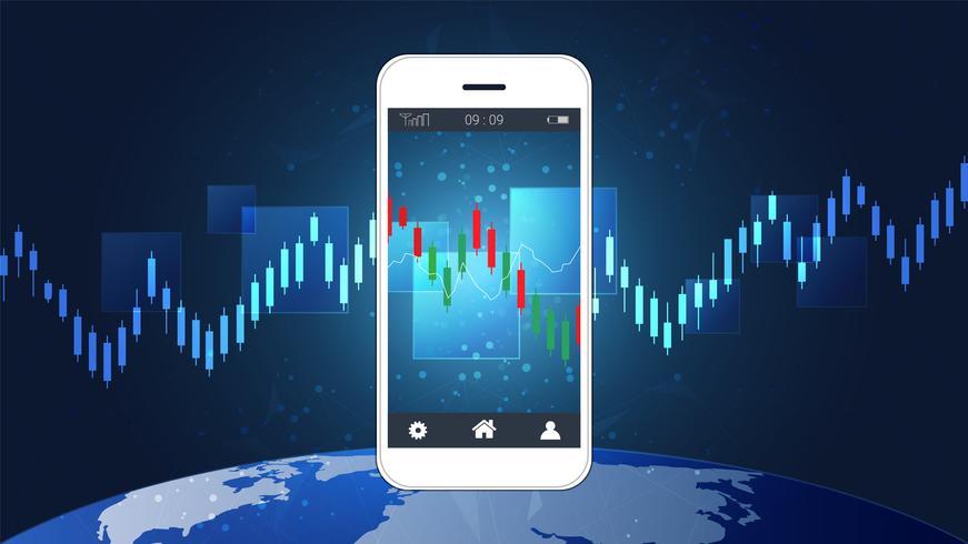 Bewegliches Aktienhandelkonzept mit Kerzenhalter und Finanzdiagrammdiagrammen auf Schirm. vektor