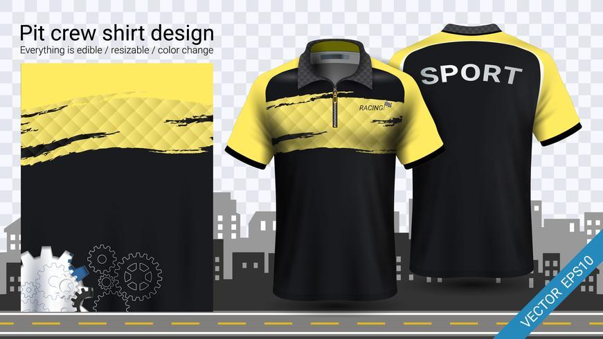Racing t-shirt med dragkedja, Sport kläder mockup mall. vektor