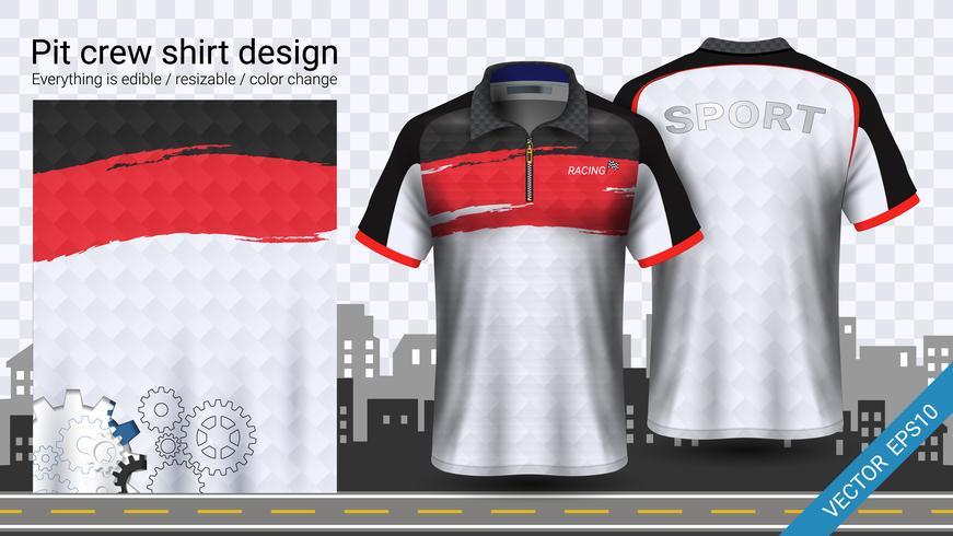 Laufen des T-Shirts mit Reißverschluss, Sportkleidermodellschablone. vektor