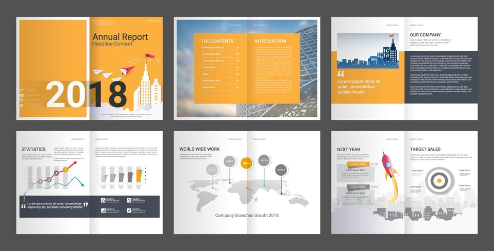 Årsredovisning för företagsprofil och reklambyrå. vektor
