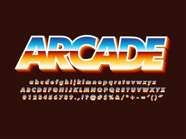 80er Retro Futurism Arcade Game Schriftart vektor
