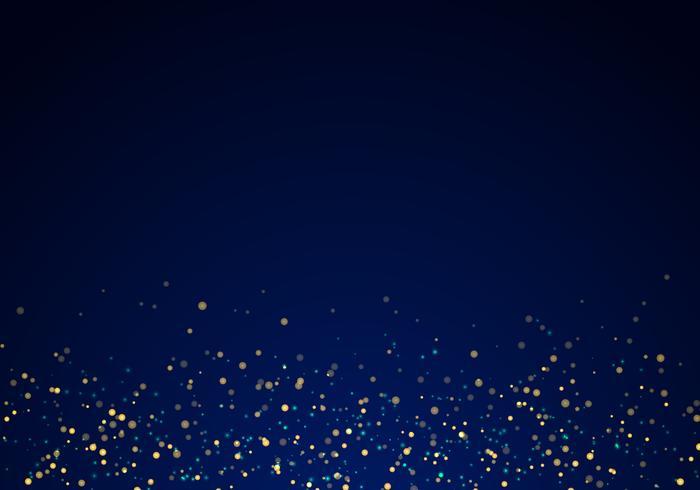 Abstrakt fallande guld glitter ljus konsistens på en mörkblå bakgrund med belysning. vektor