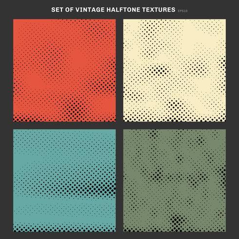 Sats med vintage halvtons konsistens effekt skapad från rutor bakgrund. vektor