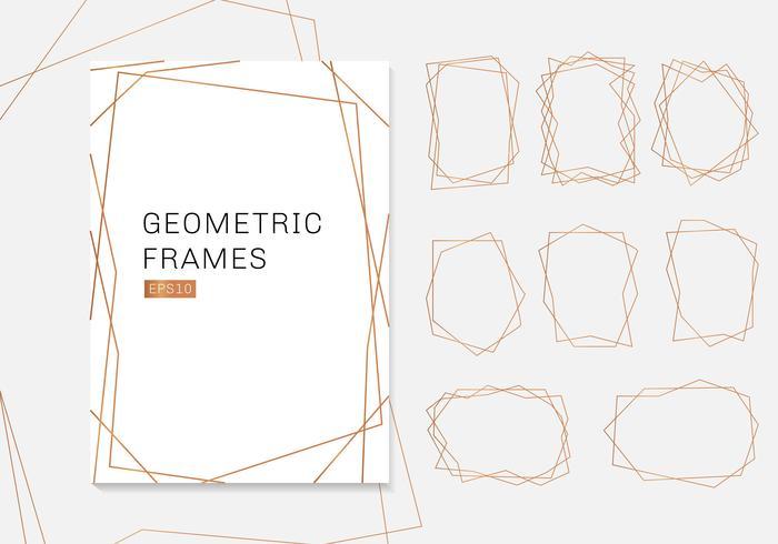 Guld geometrisk polyhedron ramar samling. lyx mallar art deco stil för bröllop inbjudan vektor