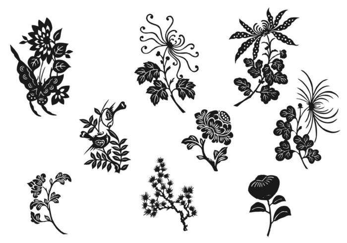 Black and White Flower Vector Pack