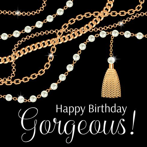 Grattis på födelsedagen vacker. Hälsningskortdesign med päron och kedjor guld metalliskt halsband. På svart vektor