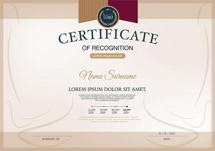 Zertifikat, Abschlusszeugnis (Entwurfsvorlage, Hintergrund) mit Guillochenmuster (Wasserzeichen), Bordüre, Rahmen. Nützlich für: Certificate of Achievement, Certificate of Education, Auszeichnungen, Gewinner vektor