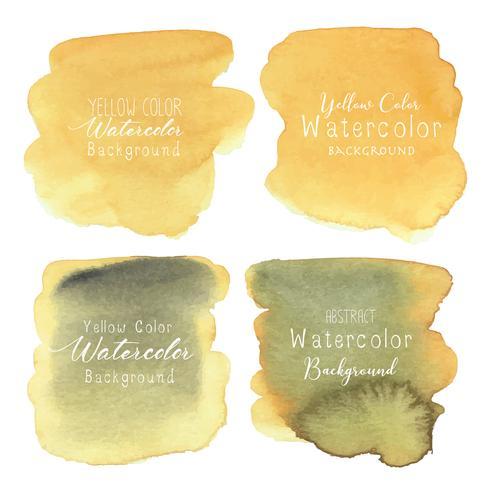 Gelber abstrakter Aquarellhintergrund, Aquarellelement für Karte, Vektorillustration. vektor