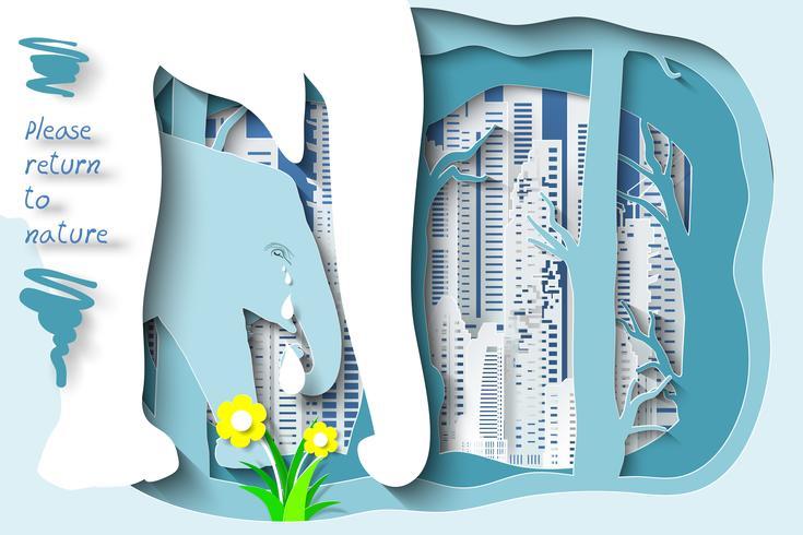 Wild lebende Tiere und Wald auf Stadthintergrund als gehen bitte zum Waldkonzept zurück. vektor