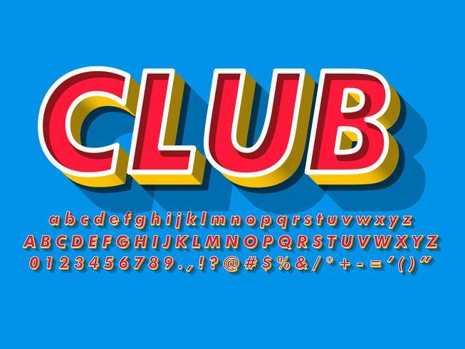 Rotes Alphabet Mit Gelb Verdrängen Und Blauem Hintergrund vektor
