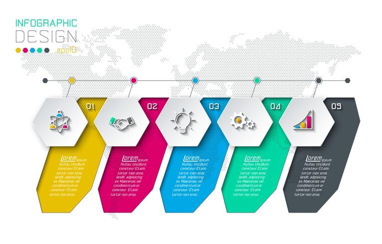 Business hexagon etiketter formar infografiska grupper bar. vektor