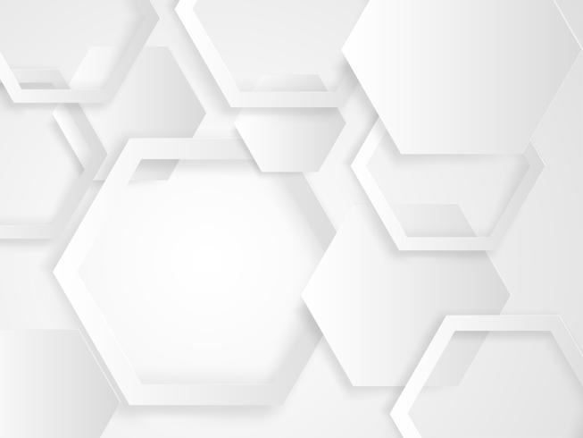 Abstrakt vit och grått hexagon bakgrunds papper skuren stil. vektor