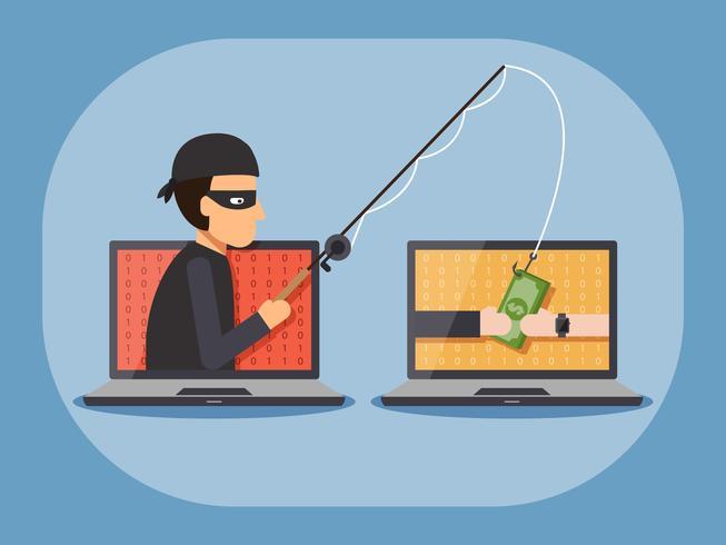 Cyber säkerhet och brottsbegrepp. vektor