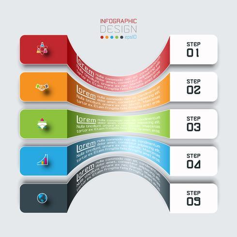 Horisontella staplar med företagsikoninfographics. vektor