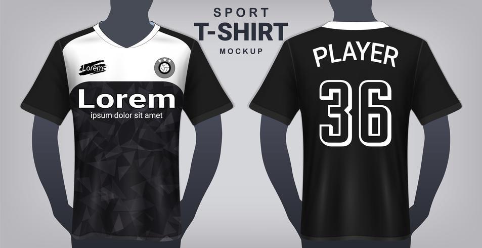 Fotbollströja och Sport T-Shirt Mockup Mall, Realistisk Grafisk Design Fram och Bakifrån för Uniforms Fotbollssats. vektor