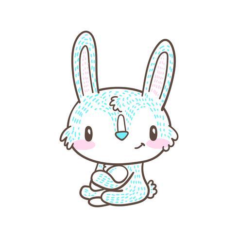 söt liten kanin och kanintecknad doodlevektor vektor