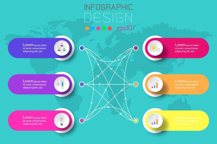 Sex etiketter med företagsymbol och världskarta bakgrundsinfographics. vektor