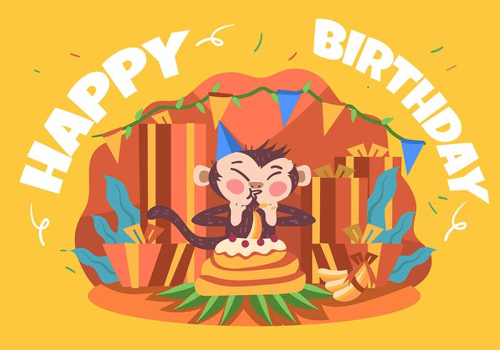 Alles Gute zum Geburtstag Tieraffe vektor