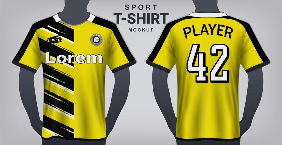 Fußball-Jersey und Sport-T-Shirt-Modell-Schablone, realistische Grafikdesign-Vorder- und Rückansicht für Fußball-Ausrüstungs-Uniformen. vektor