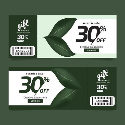 Presentkupong Premium Design Naturblad Grönkupong, Kupongmall Golden, Designkoncept för presentkupong vektor