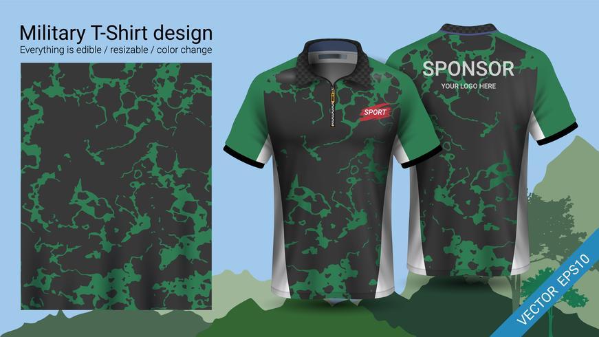 Militärpolo-T-Shirt mit Tarnmuster. vektor