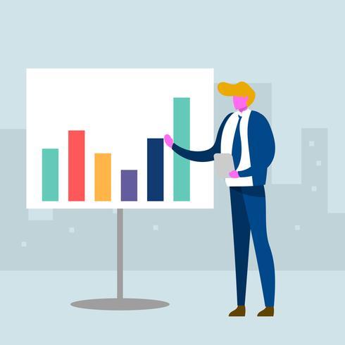Flat Affärsman Presentation Företagsmål Vector Illustration