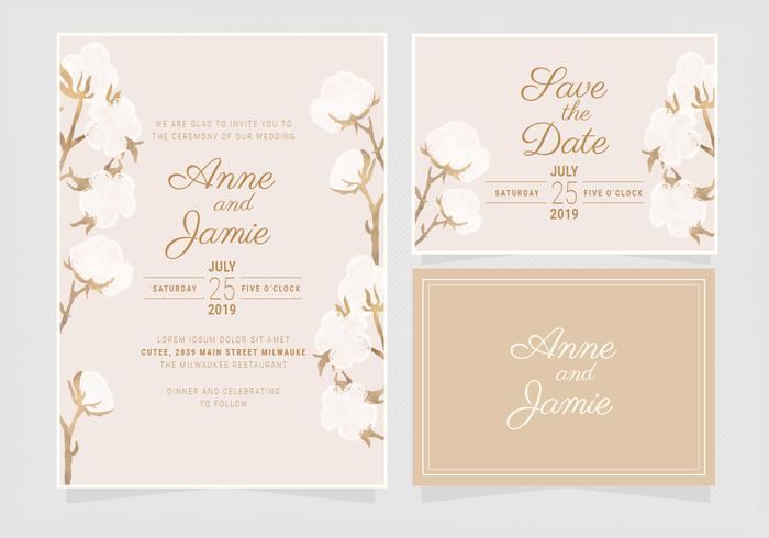 Vektor Baumwolle Hochzeitseinladung