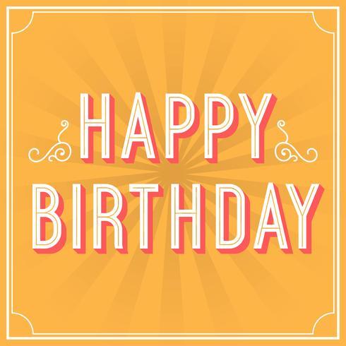 Flache Retro- alles- Gute zum Geburtstaggruß-Typografie-Vektor-Illustration vektor