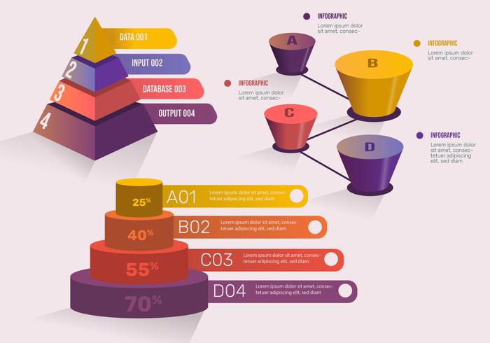 3D Infographic Element för Presentation Vector Set