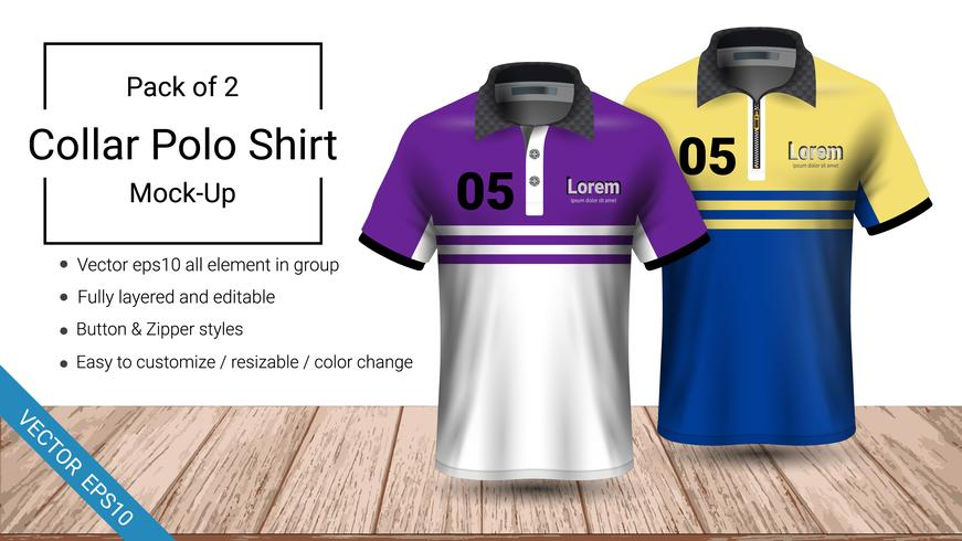 Polo-Kragen-T-Shirt-Vorlage. vektor