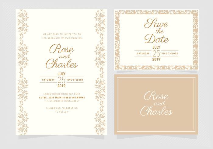Vektor Hochzeit Einladungsvorlage